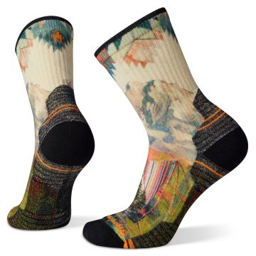 Women's Hike Light Cushion Mountain Print Crew Socks