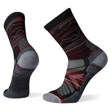 Men's Hike Light Cushion Mountain Range Pattern Crew Socks