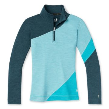 Vêtement de base à demi-glissière et contraste de couleurs Merino250 pour femmes