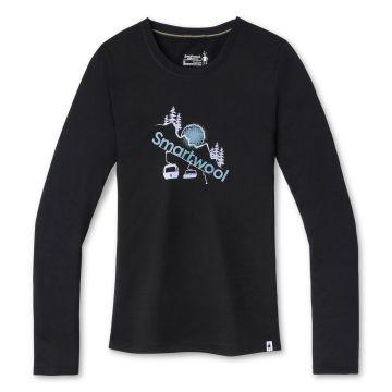 T-shirt imprimé à manches longues Chair Lift Merino Sport 150 pour femmes