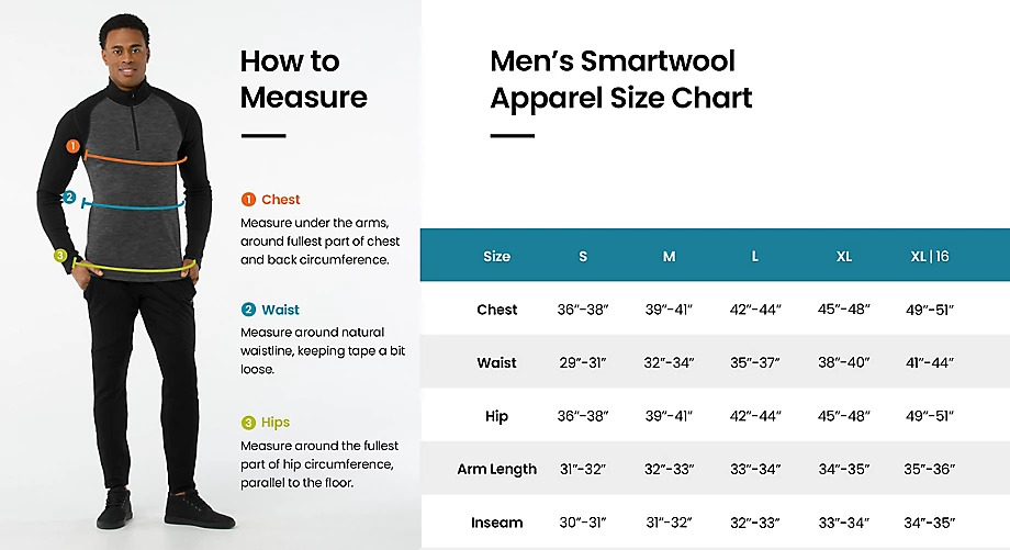 Size chart Mens apparel