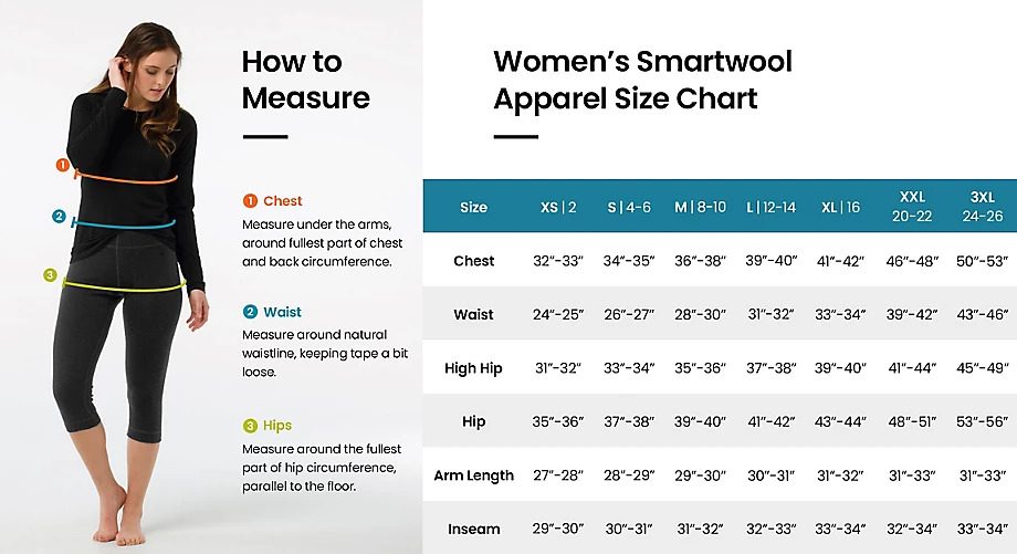 Size chart Women apparel