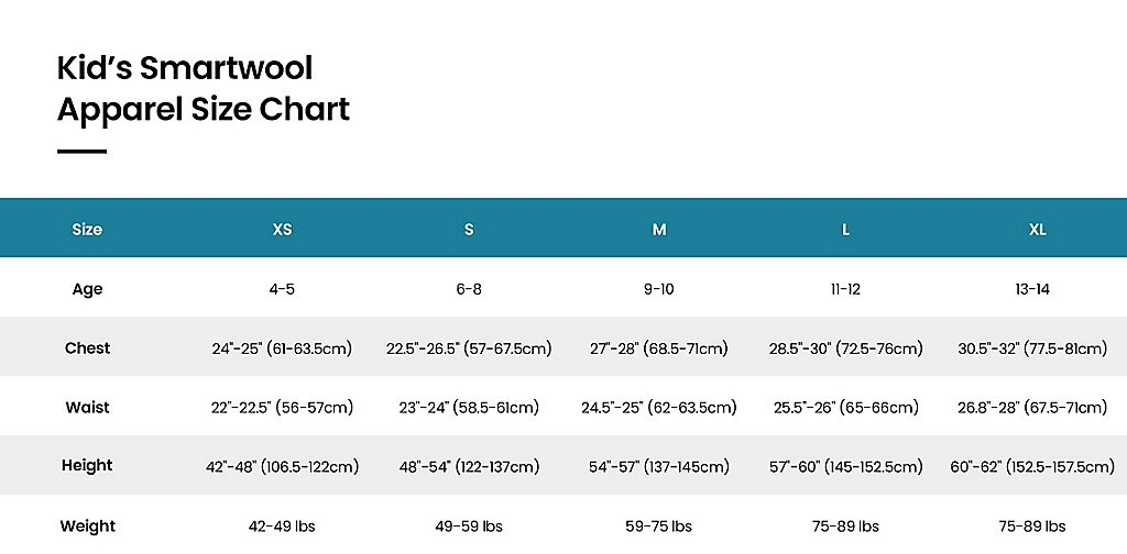 Size chart Kids apparel